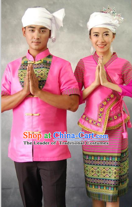 Pink Thailand Traditional Clothes 2 Sets for Men and Women