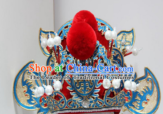 Gold Red Ancient Chinese Peking Opera Zhong Kui Hat