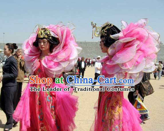 Big Pedal Flower Costumes Dancing Costume and Hair Jewerly Complete Set
