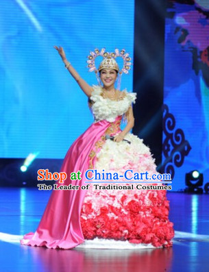 Asian Stage Performance Flower Dance Costumes and Headwear Complete Set for Women