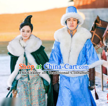 Ancient China Palace Winter Coat and Outfits for Men and Women