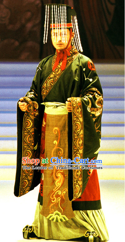 Qin Shi Huang Han Emperor Costumes And Hat Complete Set