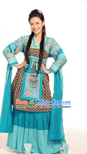 Sky Blue Classic Hanfu Outfit for Women