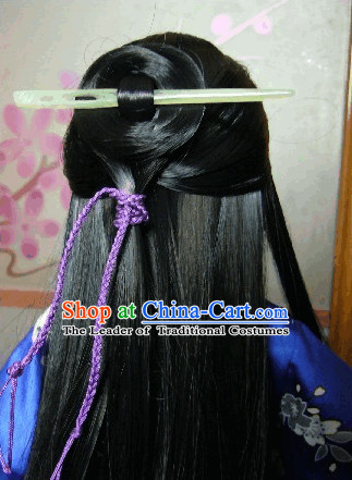 Black Classic Hanfu Long Wigs and Hairpin