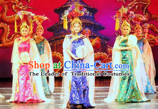 Blue Qing Style Dress and Hair Decorations for Women