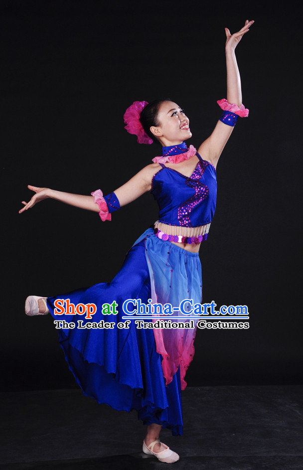 Asian Deep Blue Ocean Dancewear and Headwear Complete Set for Women