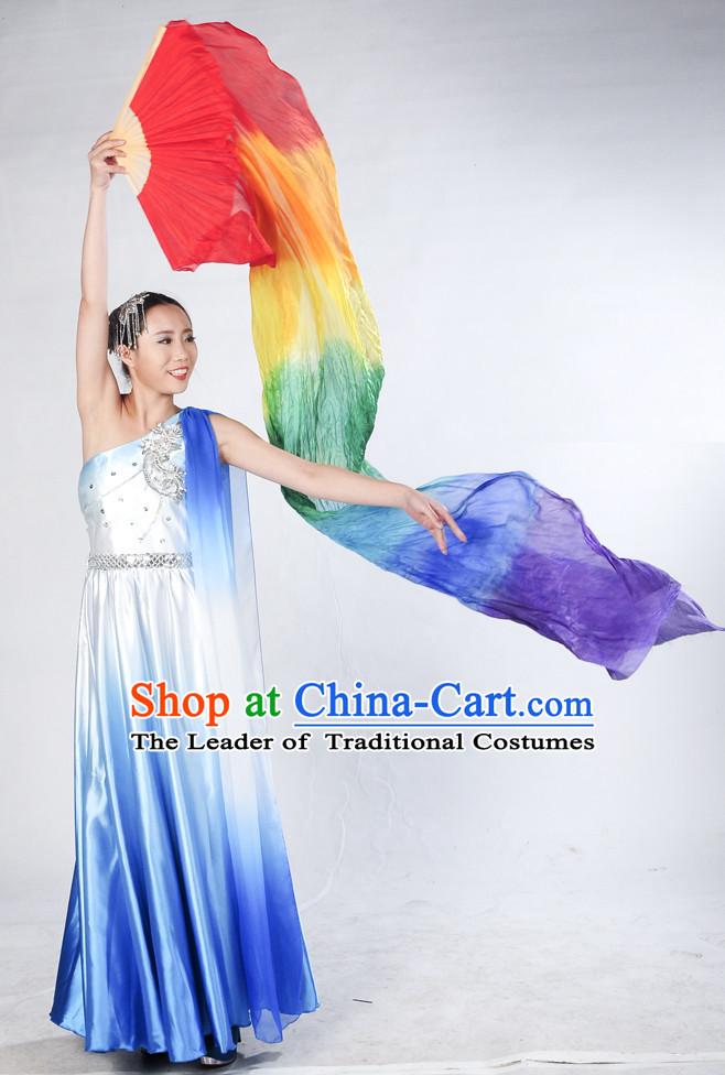 Rainbow Color Pure Silk Dance Fan