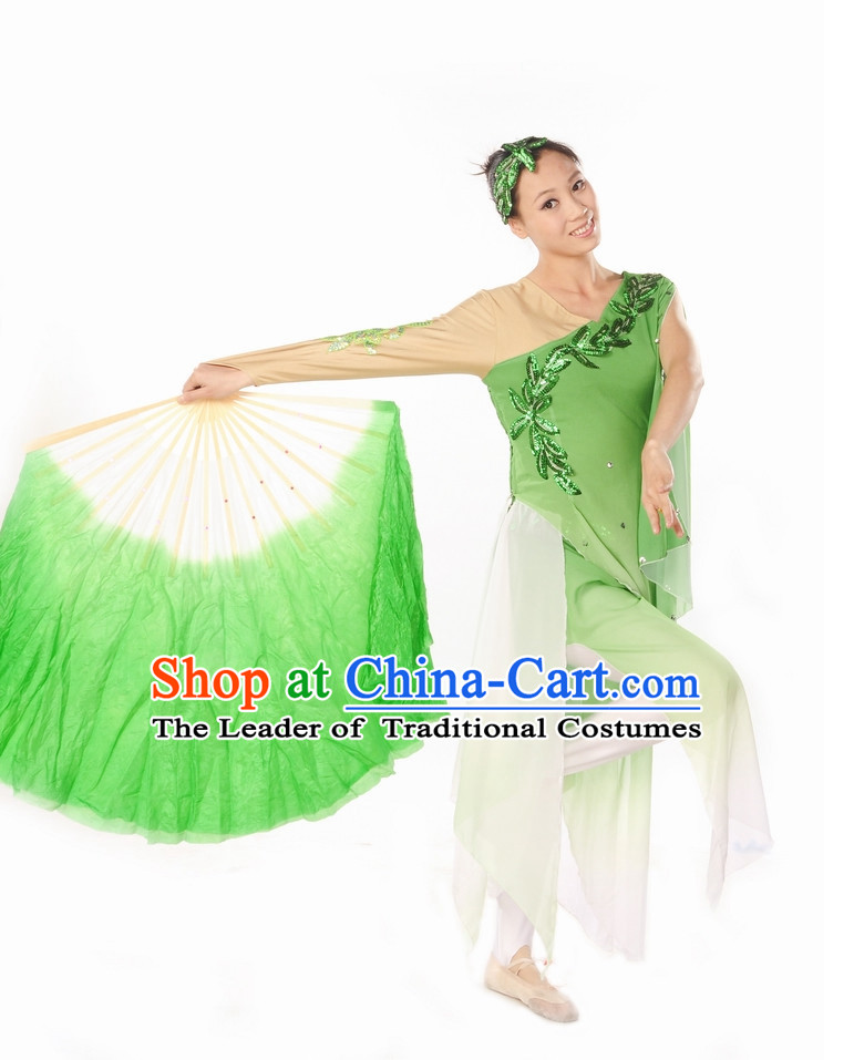 Green White Pure Silk Dancing Fan