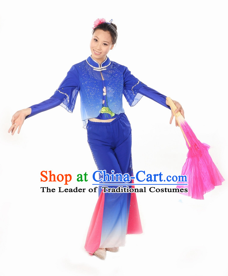 Wide Leggings Blue Mandarin Dance Suits