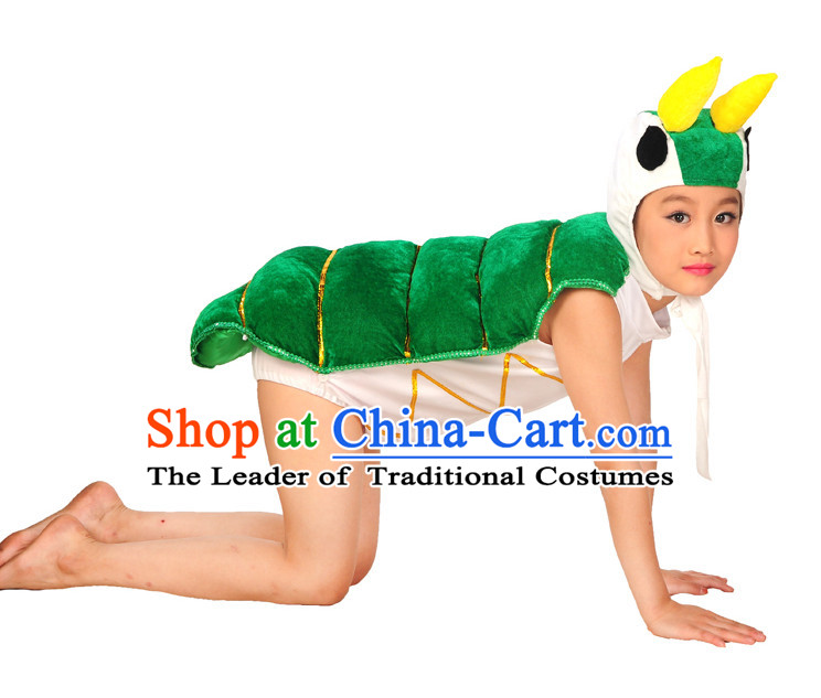 Group Green Silkworm Dance Costumes and Red Leaf Hair Decorations for Kids