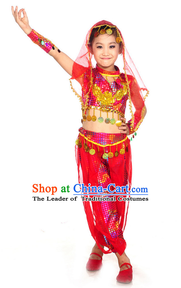 Xinjiang Dance Costumes and Veil for Kids