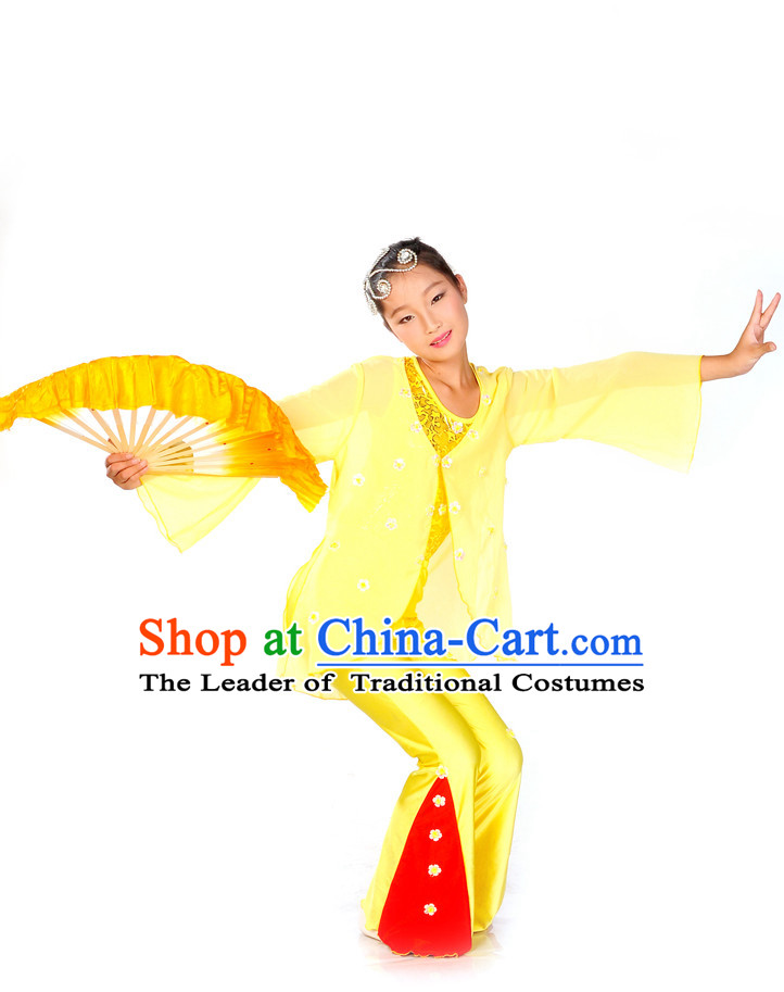 Kids Chinese Fan Dance Costumes