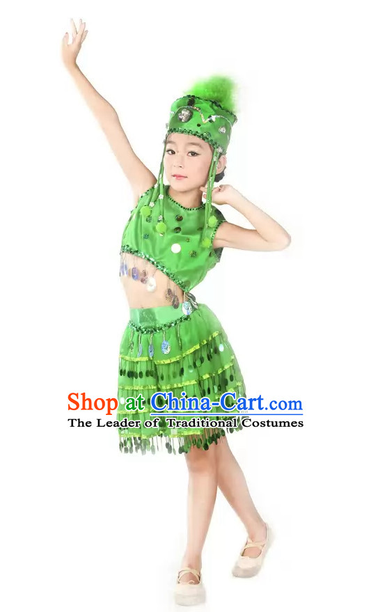 Green Stage Performance Dance Costume and Headpieces for Kids