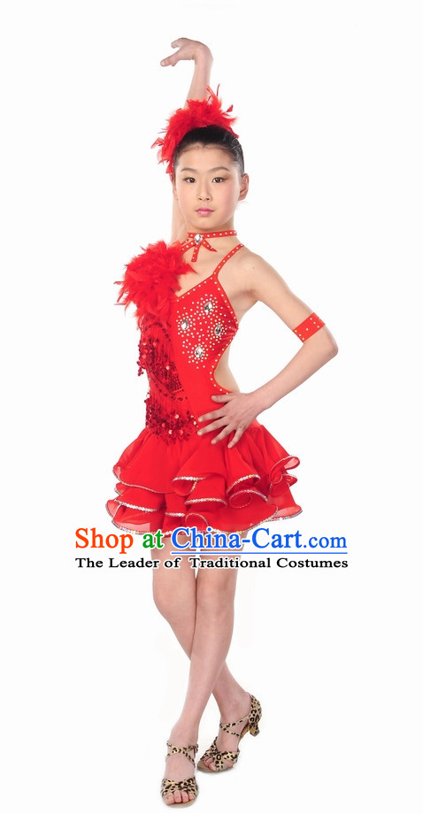 Red Latin Dance Costume for Kids