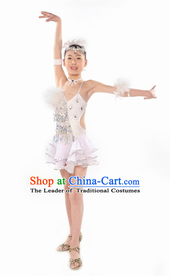 Pure White Latin Dance Costume for Kids