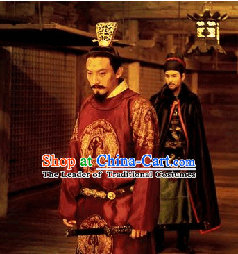 Ancient Emperor Hat and Dragon Robe Complete Set for Men