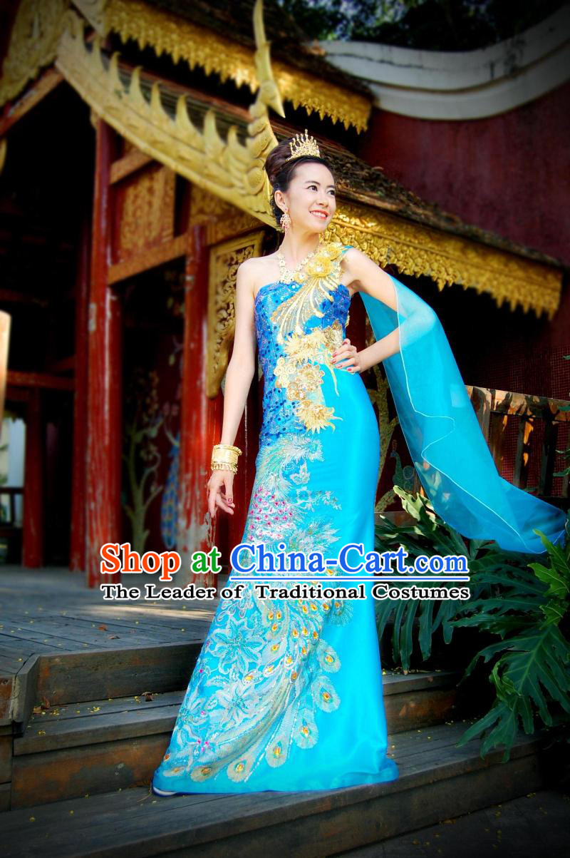 traditional thailand formal classic dress plus size clothing occasion dresses online clothes. Black Bedroom Furniture Sets. Home Design Ideas