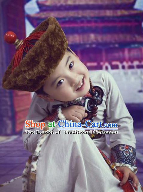 Mongolian Traditional Clothing and Hat for Kids
