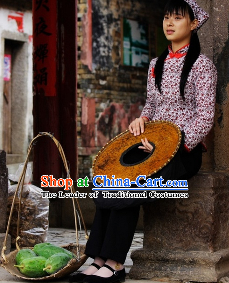 Traditional Chinese Hakka Clothing and Hat for Women