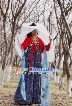 Chinese Ancient Plus Size Dresses and Bamboo Hat online Shopping