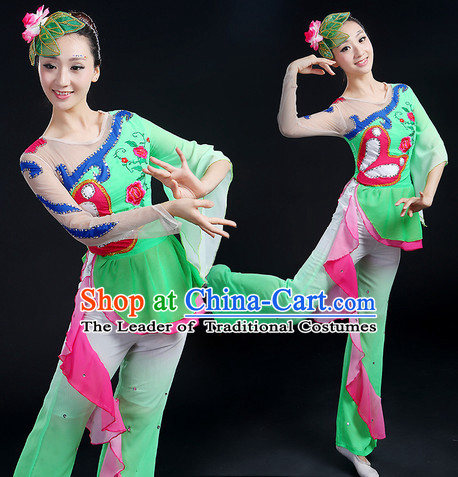 Chinese New Yer Gala Fan Dance Costume and Headwear Compelte Set