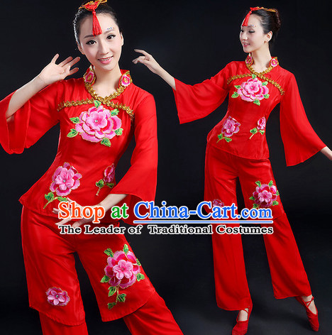 Chinese New Yer Gala Folk Fan Dance Costume and Head Pieces Compelte Set
