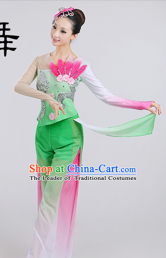 Chinese Wholesale Clothing Fan Dancing Costumes Dancewear Dance Clothes and Headpieces Complete Set for Women