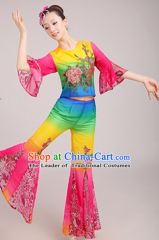 Stunning Beatiful Chinese Peony Fan Dance Costumes Dancing Clothes and Headpieces Complete Set for Woen