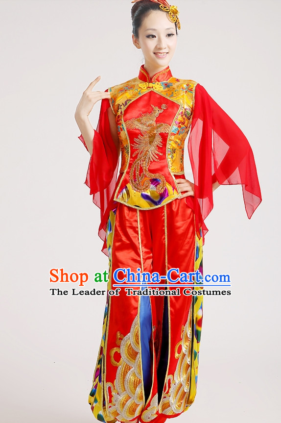 Chinese Folk Group Drum Dance Costumes and Headpieces Complete Set for Woen
