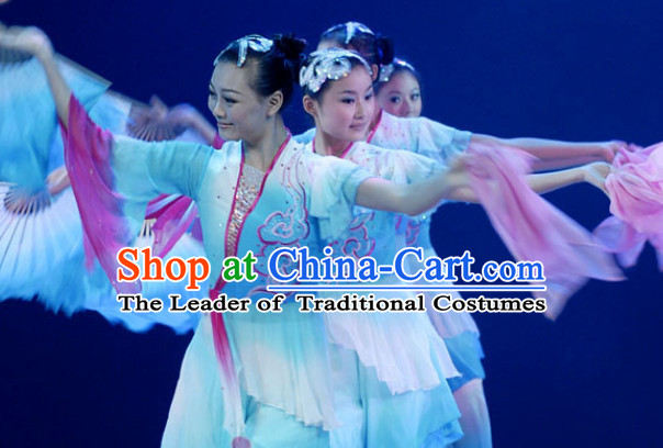 Chinese Classical Fan Dance Costume Uniforms for Women