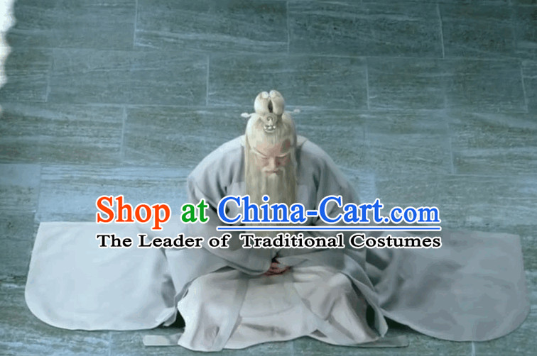 Chinese White Fairytale Tai Shang Lao Jun Laotse Wise Men Hanfu Costume Complete Set