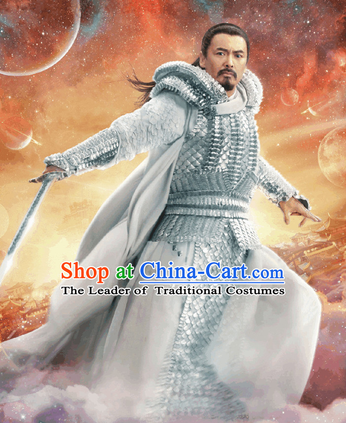 Chinese White Fairytale Jade Emperor Yu Huang Da Di Armor Costume Complete Set