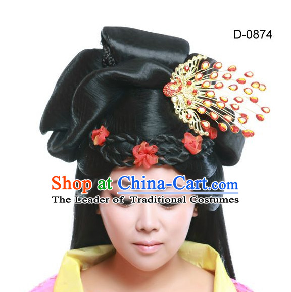Chinese Ancient Queen Hair extensions Wigs Fascinators Toupee Hair Pieces Long Wigs and Accessories for Women