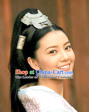 Chinese Ancient Beauty Black Long Lady Hair extensions Wigs Fascinators Toupee Long Wigs Hair Pieces and Accessories