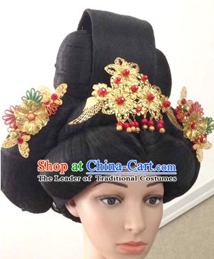 Tang Dynasty Chinese Ancient Princess Black Long Lady Hair extensions Wigs Fascinators Toupee Long Wigs Hair Pieces for Girls