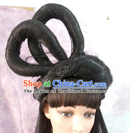 Chinese Ancient Fairy Black Wigs Tang Dynasty Lady Hair extensions Wigs Fascinators Toupee Long Wigs Hair Pieces Halloween Wigs