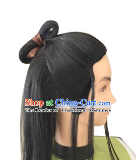 Chinese Ancient Male Halloween Black Long Wigs