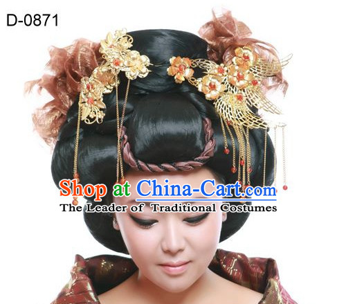 Chinese Classic Empress Black Long Wigs and Hair Jewelry for Women