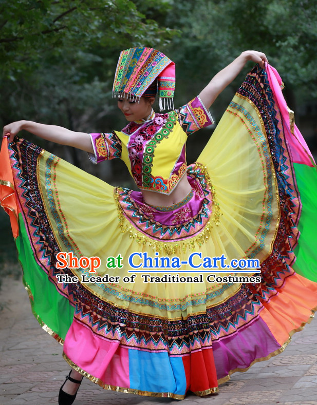 Chinese Ethnic Folk Dance Costume and Headdress Complete Set