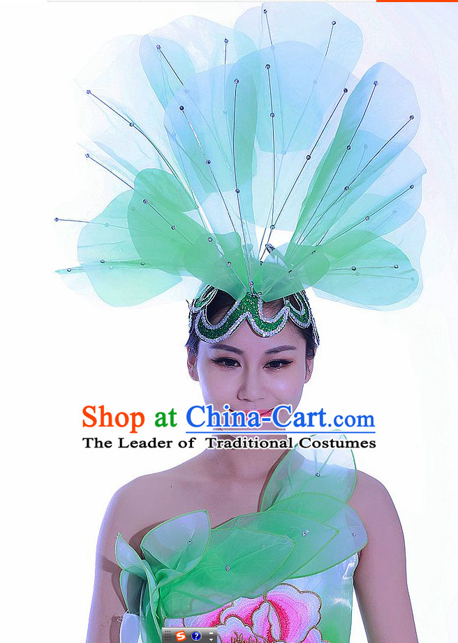 Green Chinese Folk Dance Headdress Headpieces