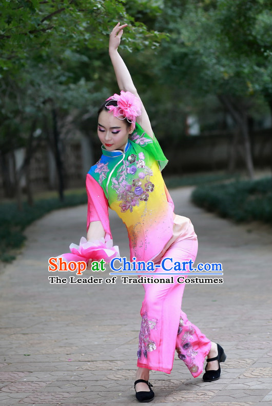 Chinese Folk Lotus Dance Costume and Headdress Complete Set