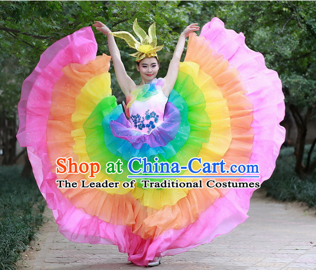 Chinese Custom Made Folk Dance Costume and Headpieces Complete Set