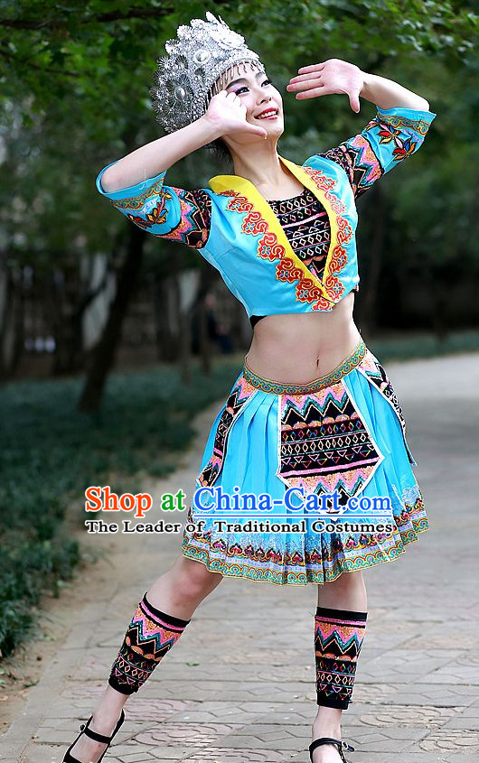 Chinese Made to Order Folk Miao Dance Costume and Headpieces Complete Set