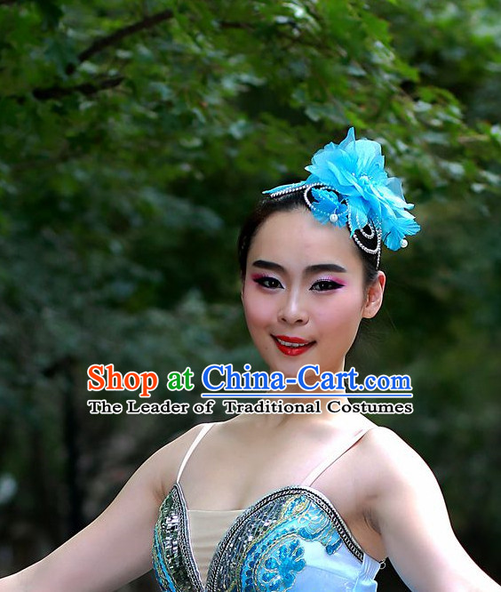 Blue Chinese Folk Dance Headdress