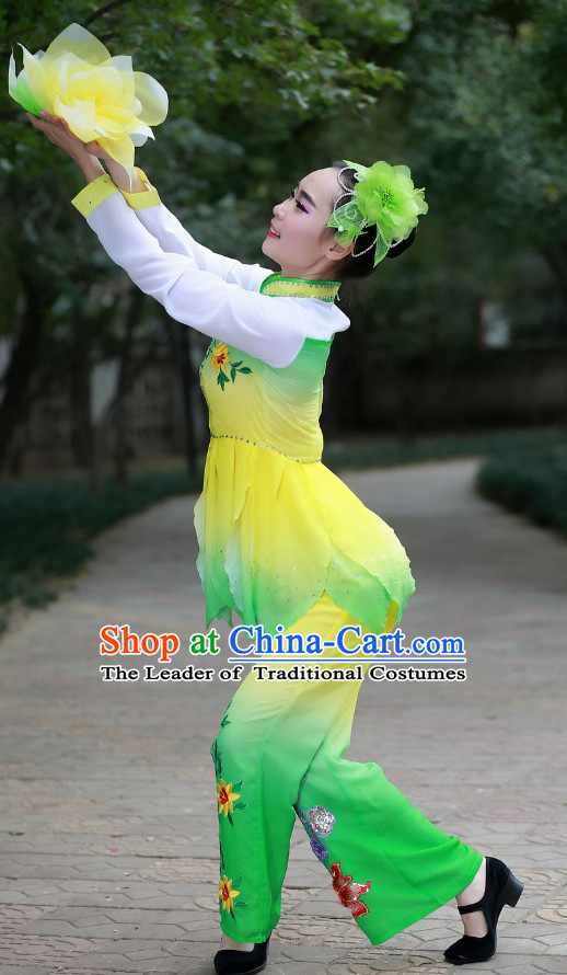 Chinese Made to Order Folk Green Dance Costume and Headpieces Complete Set for Women