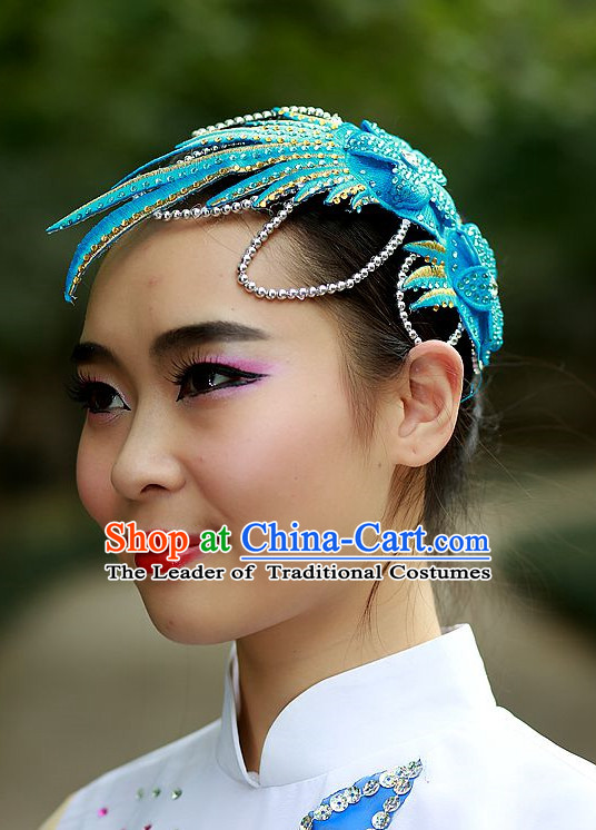 Blue Chinese Folk Dance Headpieces