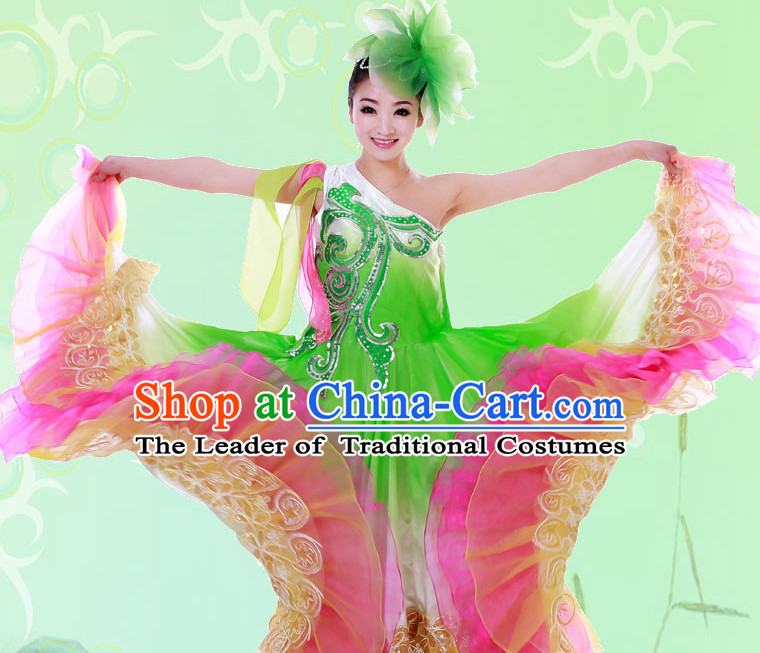 Chinese Custom Made Folk Festival Celebration Dance Costume and Headpieces Complete Set for Women