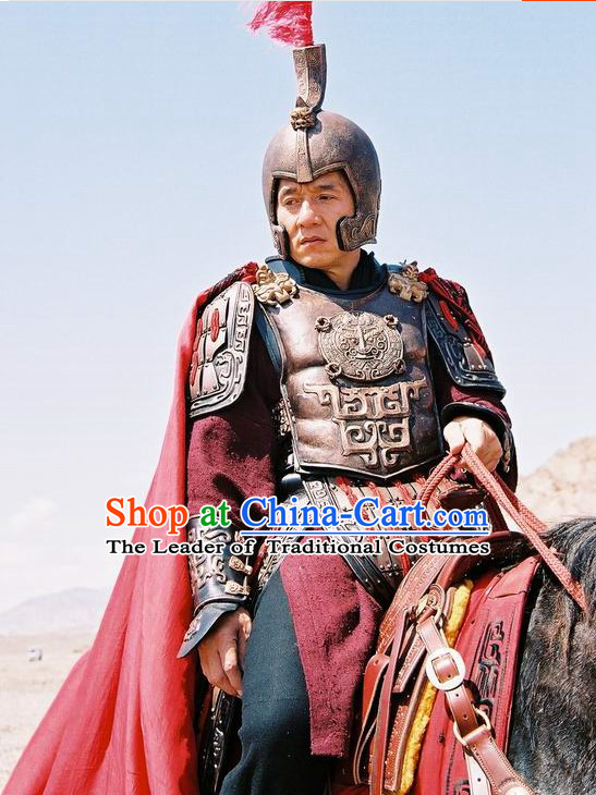 Custom Made Chinese General Armor Costume and Hat Complete Set for Men