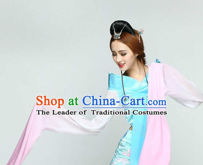 Long Sleeves Chinese Classical Quality Dance Costumes and Headdress Complete Set for Women