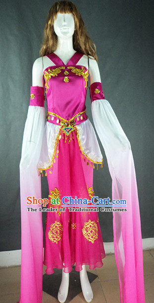 Top Long Sleeves Chinese Classical Quality Dance Costumes and Headdress Complete Set for Women